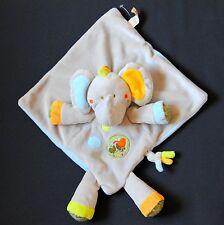 DOUDOU PLAT ELEPHANT GRIS  ORANGE  KAKI OISEAU  NICOTOY  ETAT NEUF