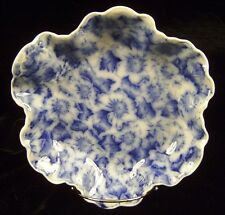 Antique Warwick China Flow Blue Transfer Ware Floral Pansy Ruffle Edge Bowl 8.5""