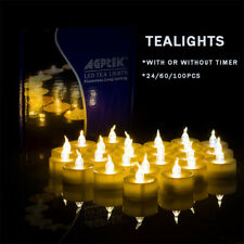 24/60/100pcs Flickering LED Tealights with Timer Candles Flameless Light Party