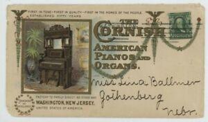 Mr Fancy Cancel 1c ILLUSTRATED COLOR AD COVER CORNISH PIANO ORGANS WASHINGTON NJ