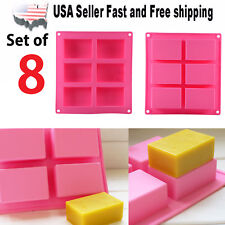 8 Set Rectangle Silicone Soap Making Molds Baking DIY Mold For Cake Bakeware