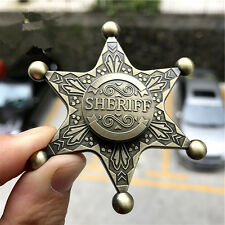 Metal Sheriff Badge Fidget Hand Spinner EDC ADHD Autism Focus Stress Relief Toys