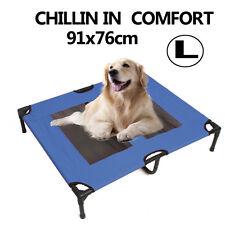 Large Pet Dog Bed Trampoline Hammock Cat Puppy Heavy Duty Frame 91*76*16CM Blue