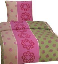 Seersucker Mikrofaser Bettwäsche Set 2 tlg 135x200cm Grün/Pink bügelfrei