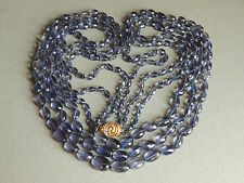NATURAL FACETED TANZANITE BEADED NECKLACE 14K YELLOW GOLD CLASP