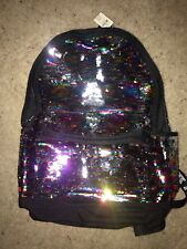 Victoria's Secret RAINBOW Sequin Backpack NeW Pink Campus Bling Book Bag NWT