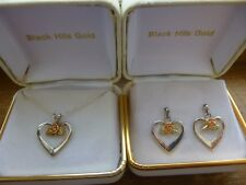 Sterling Silver & Black Hills Gold Open Hearts Rose & Leaf Necklace Earrings Set