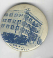 Vintage Early PHOTOGRAPH pin One of Six BUILDINGS of S.J.A. pinback