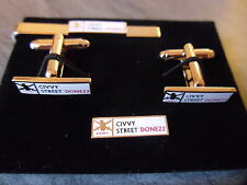 Civvy Street road sign cufflinks, lapel pin tie slide, 22 years done, Army , RBL