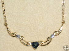 SOLID     14K  Gold      SAPPHIRE   DIAMOND    Necklace