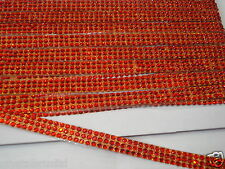 1ft 3strip RED iron-on rope reel diamante crystal gems