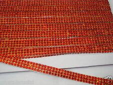 1ft 3strip Rojo termoadhesivos Cuerda Reel Diamante Cristal Gemas