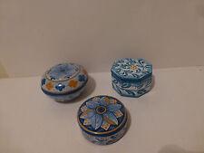 Sicilian Pottery Caltagirone Covered Pin Dishes Signed F Falcone Passarello  (S5