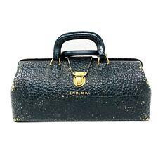 Vintage Lilly Physician Bag - Black Leather & Brass Traveling Medical Doctor Bag