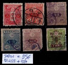 JAPON : n°121 à 125 + 127, Oblitérés : Cote 95 € / Lot Classiques ETRANGER