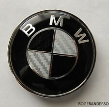 74MM BMW REAL Black Carbon Fibre Boot Bonnet Badge Emblem Fits Most models