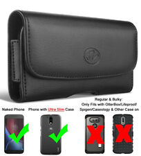 Black Leather Belt Clip Horizontal Pouch Holster Case with Secure Belt Loops