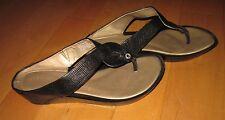 Rockport Wms Black Leather Thong Sandals 8 M