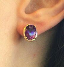 3 ctw Rich Purple Oval Amethyst Stud Earrings