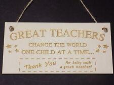 Great Teachers Change The World THANK YOU Best Teacher Gift Plaque wooden sign