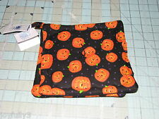 1 set of 2 Halloween pumpkins Pot Holders handmade made in maine Black backs
