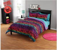 Rainbow Zebra Comforter Bedding Set Shams Reversible Teens Kids Room Full/Queen