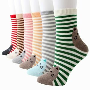 Cat Kitty Socks Ladies One Size Stripey Cute Gift 6 Colours Cotton UK Seller