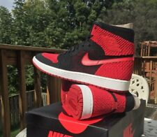 2d358f93765 Air Jordan 1 OG High Flyknit Bred black red Size 11.5 DS Authentic I AJ1