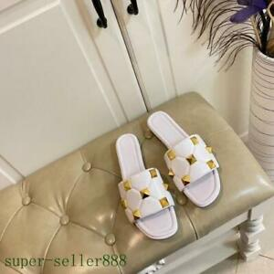 Women's Real Leather Summer Low Heel Outdoor Slippers Open-toe Rivet Shoes Beack