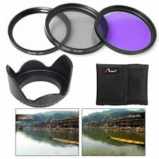 52mm UV FLD CPL Circular Polarizing Lens Filter Hood Kit for Nikon Camera LF135