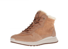 ECCO womens St1 Lace Up beige suede ankle sneakers boots w/fur 38 (7-7.5)NEW$200