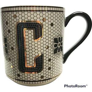 Anthropologie Tiled Margot Mug Cup Letter C Coffee Monogram Tile Bistro Initial