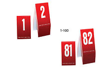 Plastic Table Numbers 1-100- Red w/white number, Tent style, Free shipping