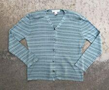 Jones New York Women's Vintage 100% Silk Striped Cardigan Sweater | Large