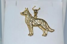 NEW 14K SOLID YELLOW GOLD GERMAN SHEPHERD DOG CHARM PENDANT HEAVY