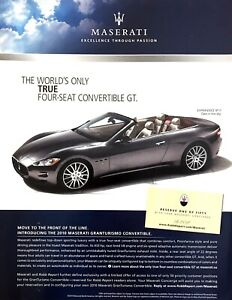 "2010 Maserti Granturismo Convertible photo ""True 4-Seat GT"" vintage print ad"