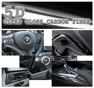500x152cm Black Super Gloss 5D Carbon Fibre Vinyl Wrap High Quality Bubble Free