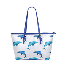 Blue Leather Tote Bag With Dolphins Pattern For Beach, Shopping, Travel