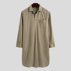 Men Long Sleeve Casual Loose Pajamas Kaftan Robe Loungewear Nightshirt Nightgown