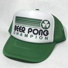 2a09a7d1952 Beer Pong Champion Trucker Hat Shamrock St Patricks Day Party Vintage  Snapback