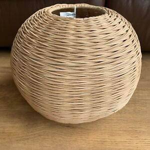 Rattan Wicker Woven Round Ball Shape Ceiling Lampshade Rustic Boho Hippie