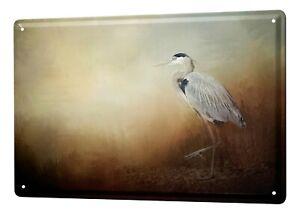 Tin Sign Bird Grey heron