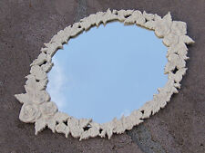Cottage Chic Cast Iron Hanging Wall or Trumeau Mirror with White Rose Surround