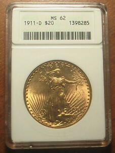 Beautiful 1911-D Gold $20 Saint Gaudens Double Eagle Coin ~ ANACS MS62