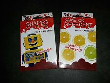 New 2 Packs Pre School Flash Cards Shapes and Colors/Same or Different