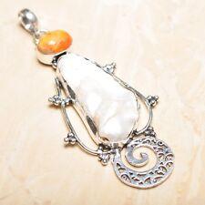 "Handmade Rainbow Natural Biwa Pearl 925 Sterling Silver Pendant 3.75"" #P15454"