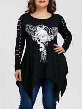 Plus Size XL-5XL Women T-Shirt Blouse Tops Skull Shredding Black Long Sleeve
