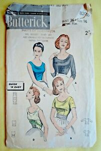 """Vintage 1950s Butterick Sewing Pattern. 4 Styles of Ladies Blouse. 36"""" Bust."""