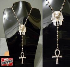 Silver Rosary Beads Ankh Cross King Tut Pharaoh Necklace Hip Hop Iced Out Egypt