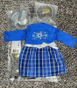 """American Girl Truly Me Blue Star & Snow Dress 18"""" Holiday Party Set Shoes Etc"""